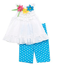 Rare Editions® Baby Girls' White/Blue 2-pc. Polka-Dot Leggings Set