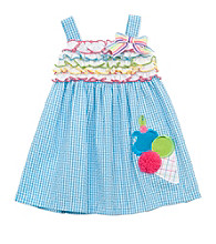 Rare Editions® Baby Girls' Blue/White Ice Cream Dress