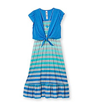 Beautees Girls' 7-16 Blue Striped Maxi Dress with Blue Shrug