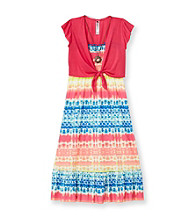 Beautees Girls' 7-16 Hot Pink Tie-Dye Maxi Dress with Shrug