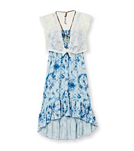 Beautees Girls' 7-16 Blue/White Tie-Dye Maxi Dress with Shrug