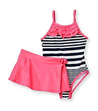Carter's® Girls' 4-6X Navy Striped Swimsuit with Pink Skirt
