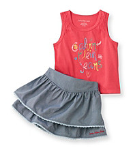 Calvin Klein Jeans® Girls' 2T-6X Pink Logo Tank and Skort Set