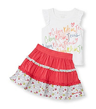 Calvin Klein Jeans® Girls' 2T-6X White/Pink Logo Tank and Skort Set