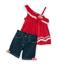 Nannette® Girls' 2T-6X Red One-Shoulder Eyelet Tunic and Bermudas Set