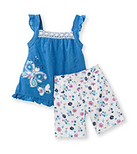 Nannette® Girls' 2T-6X Periwinkle Dot Tank and Bermudas Set