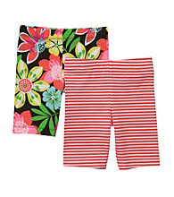 Carter's® Girls' 2T-6X Orange 2-pk. Striped and Floral Bike Shorts