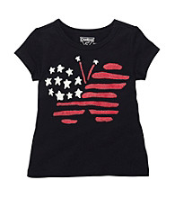 OshKosh B'Gosh® Girls' 2T-4T Navy Short Sleeve Butterfly Flag Tee