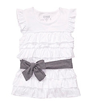 OshKosh B'Gosh® Girls' 4-6X White Ruffle Shirt with Belt