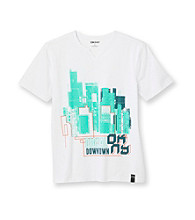 DKNY® Boys' 8-20 White Short Sleeve Digital Tee