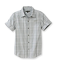 DKNY® Boys' 8-20 Charcoal Plaid Short Sleeve Seashore Woven
