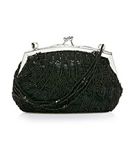 La Regale® Black Beaded Frame Clutch