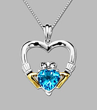 14K Yellow Gold & Sterling Silver Silver Claddagh Heart Pendant