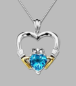14K Yellow Gold & Sterling Silver Claddagh Heart Pendant with Swiss Blue Topaz