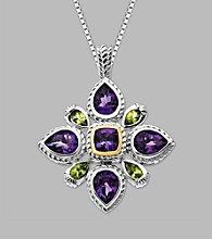 14K Yellow Gold & Sterling Silver Silver Pendant with Amethyst and Peridot