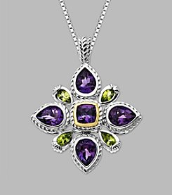 14K Yellow Gold & Sterling Silver Pendant with Amethyst and Peridot