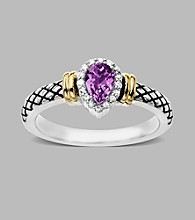 14K Yellow Gold & Sterling Silver Ring with Amethyst and Diamond Accent, 0.06CTTW,