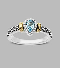 14K Yellow Gold & Sterling Silver Ring with Swiss Blue Topaz and Diamond Accent, 0.06CTTW