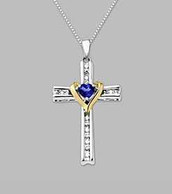 14K Yellow Gold & Sterling Silver Cross Pendant with Sapphire and Diamond Accent