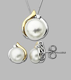 Box Set of 14K Yellow Gold & Sterling Silver Pendant and Stud Earrings