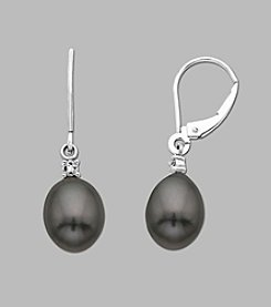 10K White Gold Drop Earring with 10mm Black Pearls and Diamond Accent, 0.01 ct. t.w.