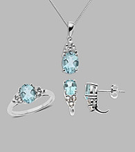 Sterling Silver Box Set of Pendant Ring and Earrings with Aqua and Created White
