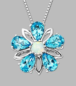 Sterling Silver Flower Pendant with Created Opal and Licensed Swiss Blue Topaz