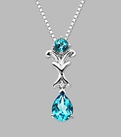 Sterling Silver Pendant with Aqua and Diamond Accent