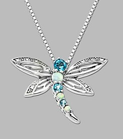Sterling Silver Dragonfly Pendant with Created Opal, Swiss Blue Topaz and Diamond Accent,