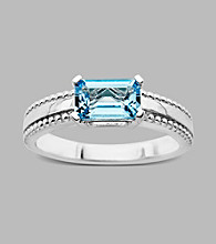 Sterling Silver Ring with Licensed Swiss Blue Topaz,