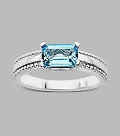 Sterling Silver Ring with Licensed Swiss Blue Topaz