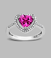Sterling Silver Heart Ring with Created Pink Sapphire and Diamond Accent, 0.12CT,