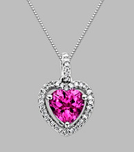Sterling Silver Heart Pendant with Created Pink Sapphire and Diamond Accent