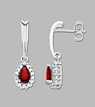 Sterling Silver Drop Earrings with Created Ruby and White Sapphire Accent