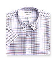 Van Heusen® Men's Blue Topaz Short Sleeve Plaid Oxford Dress Shirt