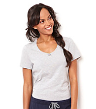 Nautica® Short Sleeve V-Neck Stripe Knit Top