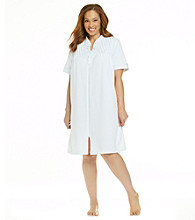Miss Elaine® Plus Size Silky Knit Short Zip Robe - True Blue