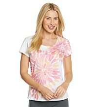 HUE® Knit Screenprint Burnout Top - Danielle Floral Dubarry Pink