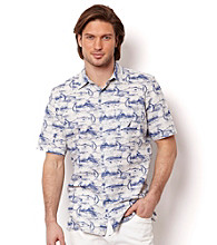 Nautica® Men's Silver Birch Short Sleeve Marlin Print Button Down Shirt