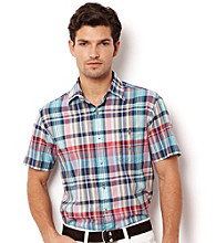 Nautica® Men's Sea Salmon Short Sleeve Madras Button Down Shirt