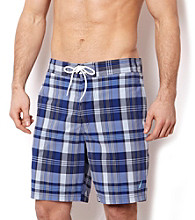 Nautica® Men's Crystal Blue Marine Plaid Swim Shorts