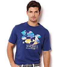 Nautica® Men's Twilight Blue Tropical Fish Sunset Graphic Tee