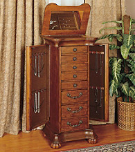 Powell® Wilmington Cherry with Burl Inlay Parquet Jewelry Armoire