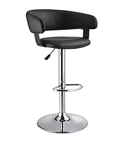 Powell® Black Faux Leather & Chrome Barrel Back Adjustable Height Bar Stool