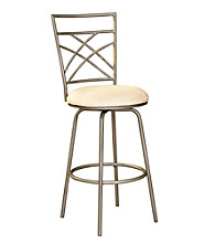 Powell® Antique Gold Accented Pewter Swivel Bar Stool