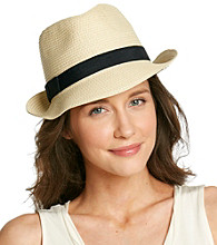 August Accessories® Natural Large Straw Fedora