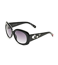 Betsey Johnson® Black Square Fashion Frame Peek-A-Boo Heart Temple Sunglasses