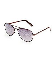 Betsey Johnson® Betsey Aviator Repeat Signature Lenses Sunglasses