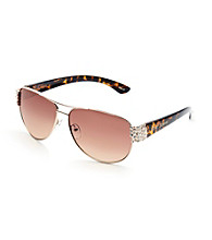 Betsey Johnson® Mixed Media Aviator Embellished Chunky Stones Sunglasses