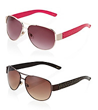Betsey Johnson® Combination Aviator Floral Pattern Temples Sunglasses
